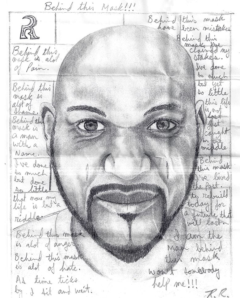 A self-portrait and poem from R.R., who is on hunger strike in detention in Central East Correctional Centre.